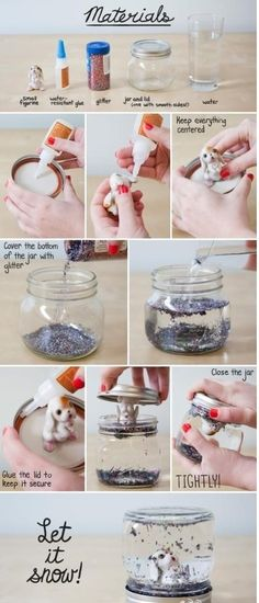 Make your own snow globe!  How to make crystal water ball from the jar.