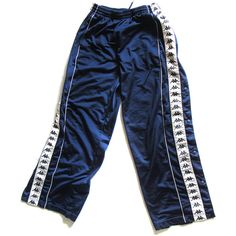 90s Kappa Snap Button Track Pants Sweatpants Lounge ($46) ❤ liked on Polyvore featuring activewear, activewear pants, high waisted sweatpants, blue track pants, sweat pants, blue sweatpants and blue sweat pants