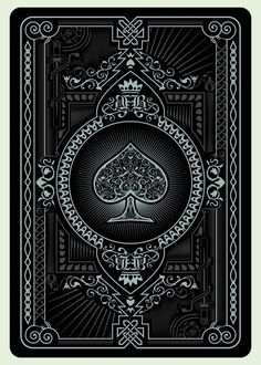 card playing black back design vintage floral symetry poker ace of spades Illustration