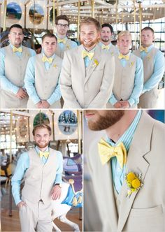 These aren't your colors... But the idea of one of the colors being the shirt and the other color being the bow tie and boutonnière