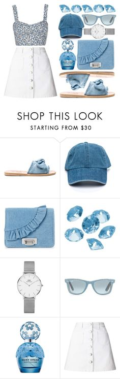 """""""Ditsy Print and Denim"""" by xxfashiongirl12xx ❤ liked on Polyvore featuring Ancient Greek Sandals, La Regale, Blue La Rue, Daniel Wellington, Ray-Ban, Marc Jacobs and Miss Selfridge"""