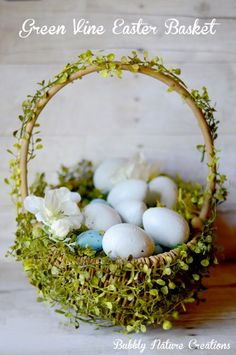 Green Vine Easter Basket (Pottery Barn Knock-off)  So pretty and elegant for the holiday!