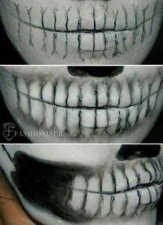 Lady Gaga Inspired Halloween Skull Makeup Tutorial - Halloween make-up - Skeleton Face Makeup, Halloween Skull Makeup, Skeleton Makeup Tutorial, Pretty Skeleton Makeup, Half Skull Makeup, Sugar Skull Makeup Tutorial, Skeleton Face Paint, Skull Face Paint, Scarecrow Makeup