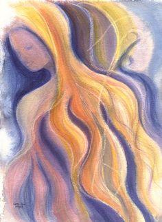 woman goddess spiritual watercolor print by CathyHillegas