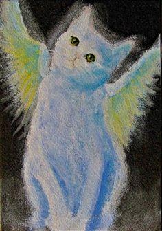 Original Miniature Painting Angel White Cat Kitten by Breten Bryden BrydenArt.com  #cat
