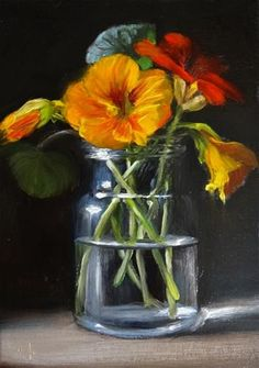 """Daily Paintworks - """"Nasturtiums in Glass Jar"""" - Original Fine Art for Sale - © Mary Ashley"""