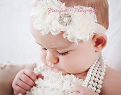 Baby Girl White Headband..Pearls..Rhinestones..White Christening Headband..Pearls..White Baptism Headband..Baby Girl White Flower Headband. $12.00, via Etsy.