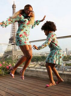 Beyonce and Blue Ivy gave off major mommy-daughter vibes while twinning in printed dresses in Paris! See the pics!
