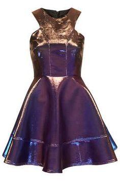 Two Tone Bonded Skater Dress