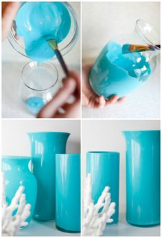 Enamel painted vases - easy and beautiful crafty painted acc Diy Craft Projects, Diy Crafts To Sell, Home Crafts, Projects To Try, Arts And Crafts, Paper Crafts, Painted Vases, Enamel Paint, Valentine Crafts