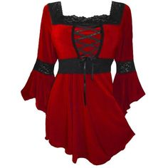Dare to Wear Women's Victorian Gothic Renaissance Corset Top ($60) ❤ liked on Polyvore featuring tops, dresses, corsets, shirts, steampunk, steampunk corset, renaissance corset, red top, gothic corset top and gothic tops