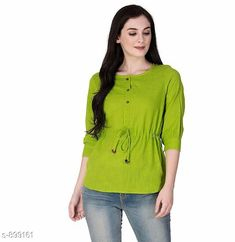 Checkout this latest Tops & Tunics Product Name: *Gorgeous Cotton Club Women's Top* Fabric: Cotton Club Sleeves: 3/4 Sleeves Are Included Size: XS - 34 in S - 36 in M - 38 in L - 40 in XL - 42 in Length: Up to 30 in Type: Stitched Description: It Has 1 Piece Of Women's Top Work: Thread Work Country of Origin: India Easy Returns Available In Case Of Any Issue   Catalog Rating: ★4.2 (470)  Catalog Name: Women's Cotton Tops & Tunics CatalogID_105284 C79-SC1020 Code: 552-899161-285