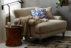 One Kings Lane: fat reading chair New Living Room, Living Room Chairs, Living Room Furniture, Living Room Decor, Living Spaces, One Kings Lane, Big Comfy Chair, Cozy Chair, Big Chair