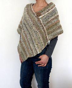 Buttoned Boho Poncho Crochet pattern by CamexiaDesigns Crochet Wrap Pattern, Crochet Poncho Patterns, Knitted Poncho, Crochet Shawl, Knit Crochet, Knitting Patterns, Crochet Hook Sizes, Crochet Hooks, Crochet Sandals