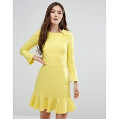 Closet Bell Sleeve Pephem Dress (59 AUD) ❤ liked on Polyvore featuring dresses, yellow, back zipper dress, flared sleeve dress, zip back dress, slimming dresses and tall dresses