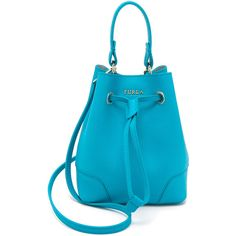 Furla Bags (€205) ❤ liked on Polyvore featuring bags, handbags, turchese, leather drawstring purse, 100 leather handbags, blue leather handbag, blue purse and furla handbags