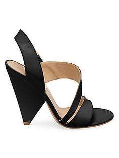 64aaea1793 Gianvito Rossi Strappy Leather Triangle Heel Sandals