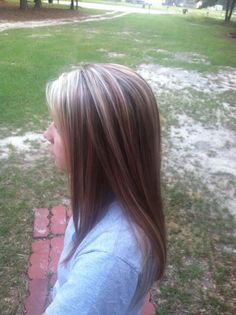 Blonde highlights and red low-lights over brown, hair straightened…