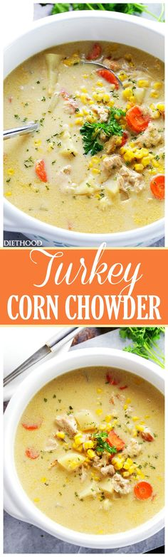 Turkey Corn Chowder - One pot and 30 minutes is all you will need to make this d. Turkey Corn Chowder - One pot and 30 minutes is all you will need to make this delicious and hearty, quick-cooking chowder, loaded with turkey and corn. Turkey Corn Chowder Recipe, Turkey Soup, Chowder Recipes, Soup Recipes, Cooking Recipes, Chowder Soup, Corn Soup, Dinner Recipes, Cake Recipes