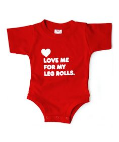 Wry Baby Red Love Me for My Leg Rolls Bodysuit - Infant | zulily