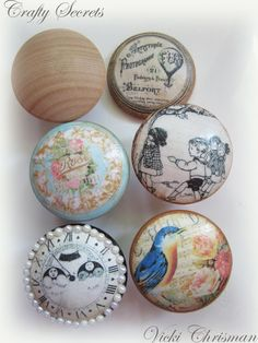 14 things you didn't know you could decoupage: cabinet pulls/ drawer knobs. It's all about the details, right? If decoupaging an entire piece is a bit much for your taste, spruce up an old furniture piece with these via @vickichrisman