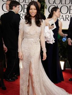 Jessica Biel showed up to the 2012 awards show in a gorgeous lace Elie Saab gown, but quickly reminded us why long trains are a big problem. While walking the red carpet, Madonna stepped on the actress's dress (gasp!).