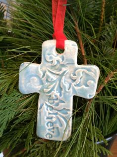Clay Cross Ornament by serendipitypots on Etsy