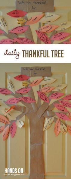 Thanksgiving Thankful Tree. A simple and fun activity to focus on gratitude with your kids. via @handsonaswegrow