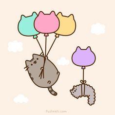 Cute ballon pusheen and stormy! Gato Pusheen, Pusheen Love, Pusheen Stuff, Kawaii 365, Chat Kawaii, Crazy Cat Lady, Crazy Cats, Pusheen Stormy, Image Chat