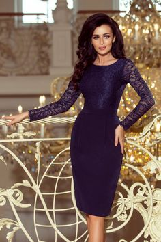 Elegant EMMA pencil dress with lace and long sleeve - navy blue. The numoco brand.Dress Emma - navy blueThe dimensions are measured on a flat - without stretching the material (+/- 2 cm)The woman in. Lange Blonde, Robes Midi, Modern Outfits, Blue Lace, Navy Blue, Bleu Marine, Pencil Dress, Lace Dress, Lace Bodice