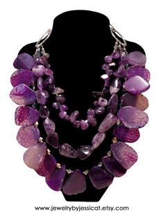 """Another stunning J by JT """"Gemstone Collection"""" necklace featuring all sorts of genuine amethyst gemstones! The vibrant purple stones will """"wow"""" everyone....guaranteed!   GEMSTONE AMETHYST Statement Necklace Purple by JewelryByJessicaT,"""