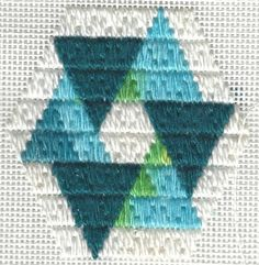 Teal & aqua Ring of Triangles needlepoint ornament, copyright Napa Needlepoint