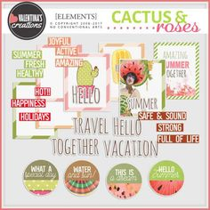 Cactus & Roses by Valentina s Creations Vacation Style, Vacation Trips, Weird Holidays, Watercolor Splatter, Apple Fruit, Site Design, Lowercase A, Mixed Media Art, Digital Scrapbooking