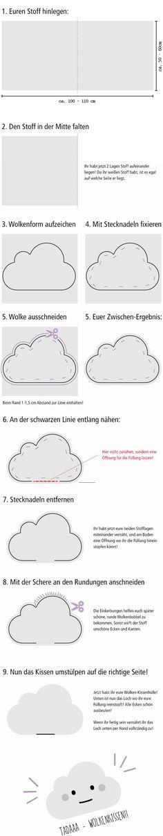 DIY: Flauschiges Wolkenkissen selber nähen Tutorial Anleitung: