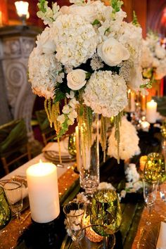 22 Ideas Wedding Centerpieces Tall Vases Sophisticated Bride For 2019 Candle Wedding Centerpieces, Floral Centerpieces, Reception Decorations, Floral Arrangements, Centerpiece Ideas, White Centerpiece, Trendy Wedding, Floral Wedding, Wedding Flowers