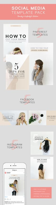 Looking to take your social media game to the next level? Get started with our Social Media Pack, which includes 5 templates for Facebook ads, 5 for Instagram ads, and 5 for Pinterest graphics! With the option to purchase with or without photos, our templates are easily customizable!  Download them, add your own spin, and use them to promote your brand across a wide variety of platforms!