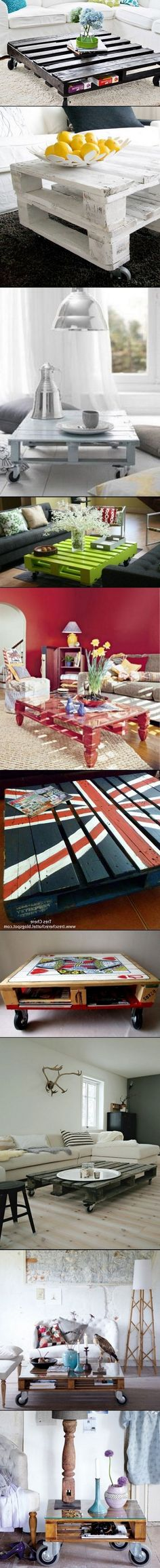 DIY Home decor Tables Casters, Pallets, Painted, Stained, English flag.