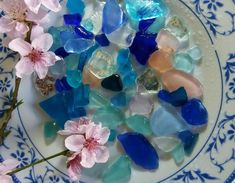 Blue and pink sea glass and mirror pieces. Color Harmony, Beach Stones, Light Purple, Shades Of Blue, Sea Glass, I Shop, Pottery, Mirror, Pink