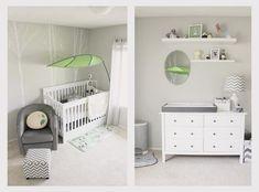 4 in 1 convertible crib Spaces Modern with baby chevron gray green grey Miyazaki Nursery small bedroom totoro woodland