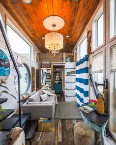 """Living Big In A Tiny House on Instagram: """"Loving the beach vibes in this tiny house! 🏖 Be sure to check out the full video tour on our YouTube channel! . . . . .…"""" Tiny House Family, Tiny House Living, Small Space Living, Small Spaces, One Bedroom House, Tiny Cabins, Van Living, Tiny House Movement, Small House Design"""