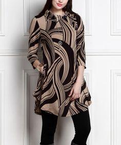 Another great find on #zulily! Black & Taupe Shawl-Collar Button Tunic Dress - Plus Too #zulilyfinds