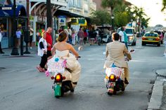 Scooter ride after their wedding ceremony in Key West.