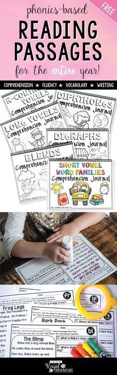 FREE Phonics-Based Reading Passages Fluency and Skill Based Reading Comprehension Notebook (ALL YEAR). This free printable includes comprehension, fluency, vocabulary and writing. A great resource for teachers that will save you time and energy. These phonics activities exemplify engaging learning strategies with simple instructions and interactive activities.Click here to get your free printable pages.