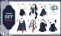 [Adopt Auction] Fantasy Outfits 29 [ OPEN ] by QuinnyIlada on DeviantArt Fashion Design Drawings, Fashion Sketches, Art Sketches, Drawing Anime Clothes, Manga Clothes, Character Outfits, Character Art, Moda Lolita, Clothing Sketches