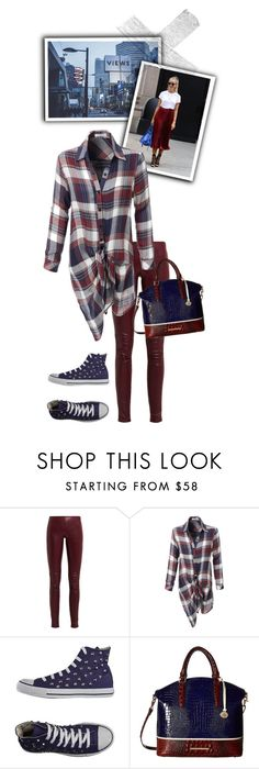 """""""Burgundy & Navy"""" by felicia-mcdonnell ❤ liked on Polyvore featuring Balenciaga, LE3NO, Converse and Brahmin"""