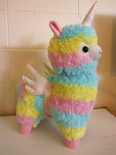 Unicorn/Alicorn Alpaca with wings Rainbow coloured Alpaca Lama Thingy Plush