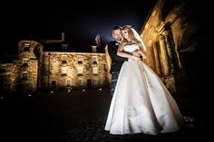 groom holding his bride at night in the Stirling Castle Courtyard Stirling Castle, Groom, Wedding Photography, In This Moment, Bride, Night, Wedding Bride, Bridal, Grooms