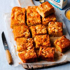 A piece of cake from this Dorset Apple And Almond Traybake Recipe, is made even tastier with a scoop of clotted cream. Tray Bake Recipes, No Bake Desserts, Baking Recipes, Cake Recipes, Baking Ideas, Apple Recipes, Sweet Recipes, French Apple Cake, Catering Food