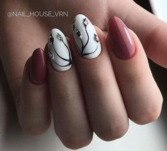 Delicate nails, Festive nails, Manicure 2018, Nails trends 2018, Nails with rhinestones, Nails with stones, Painted nail designs, Red and white nails #Bestsummernails
