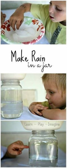 Earth science - clouds, condensation, weather, water cycle. How to make rain in a jar.